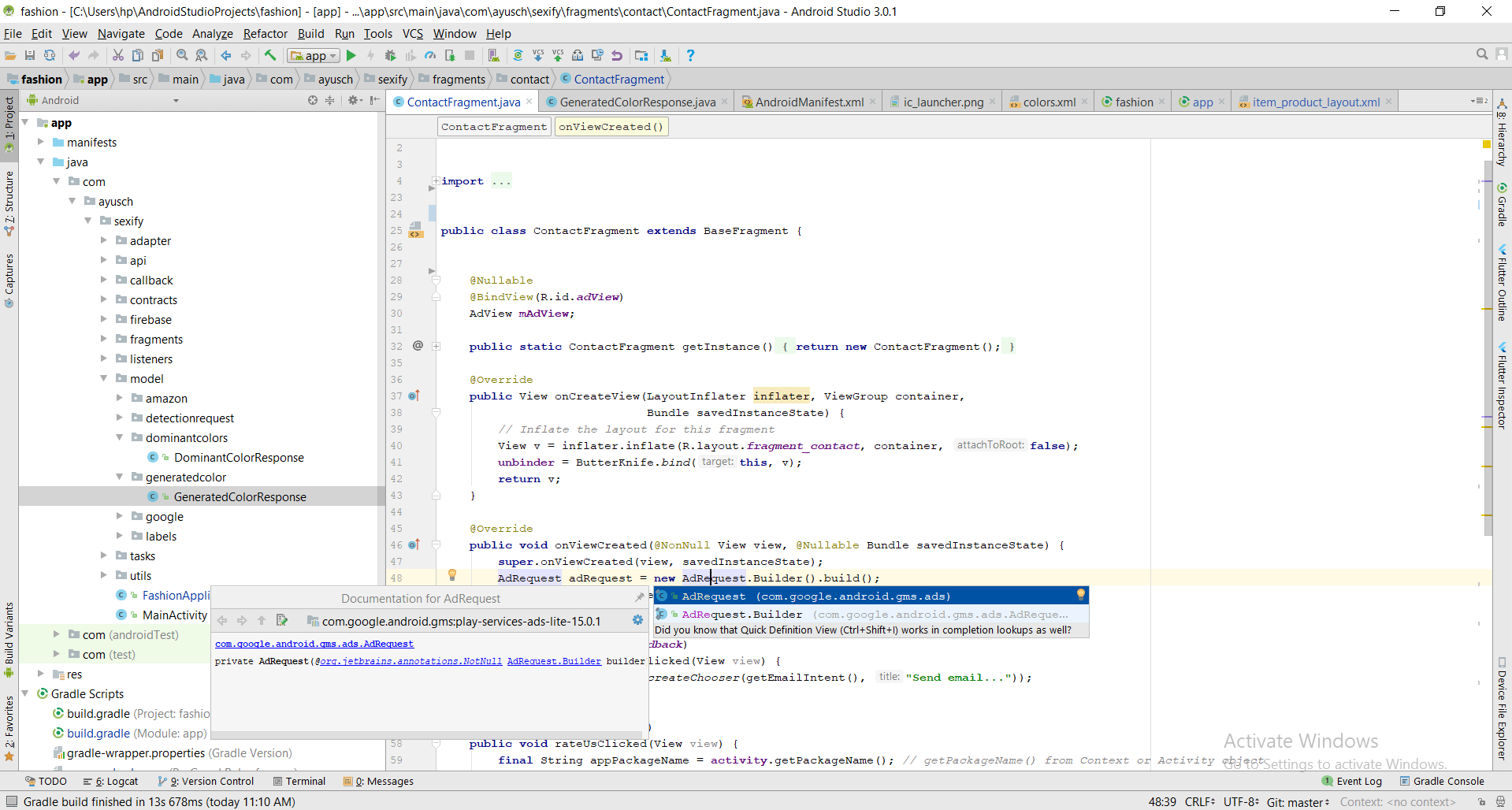 Basic Completion Android Studio Shortcut