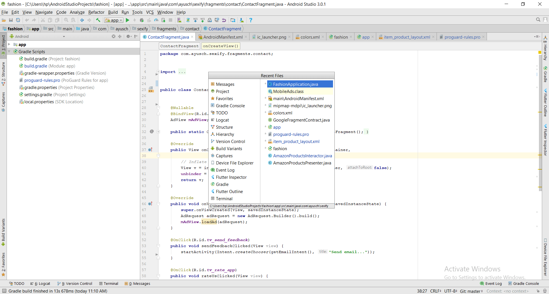 Recently opened files shortcut