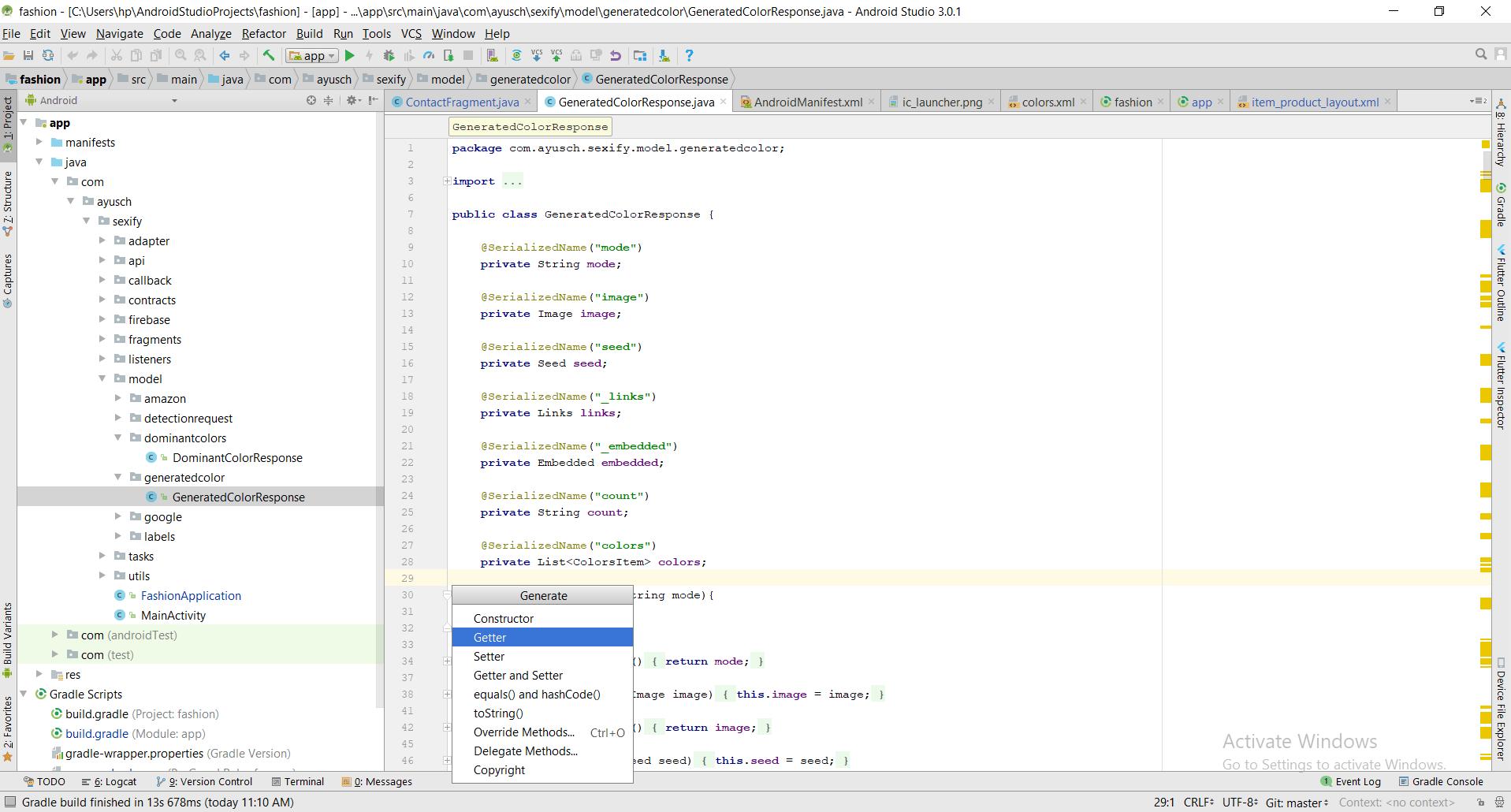 Code Generation Android Studio Shortcut