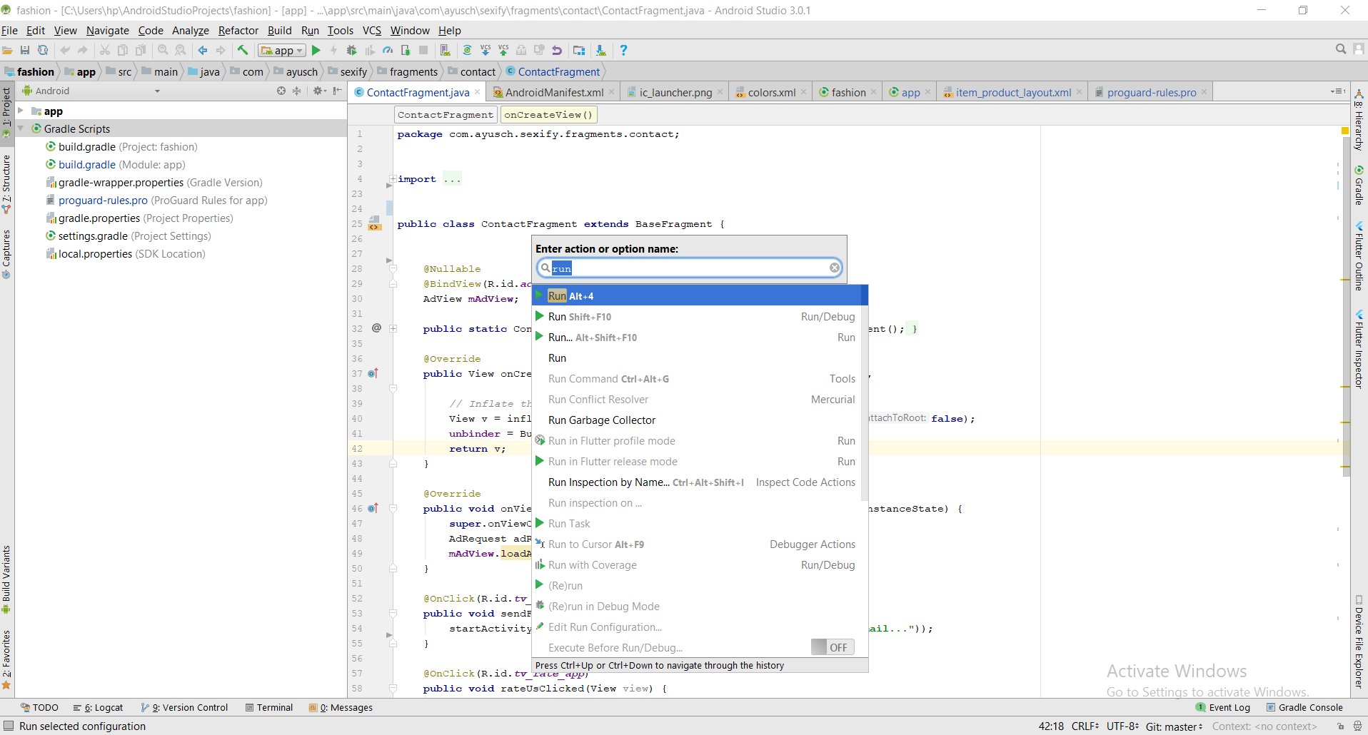 Find Action Android Studio Shortcut