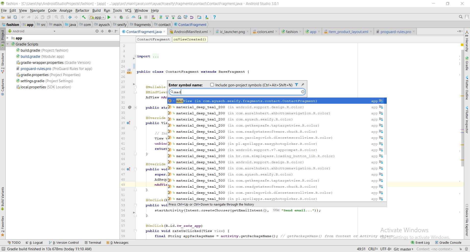 Find By Symbol Name Android Studio Shortcut