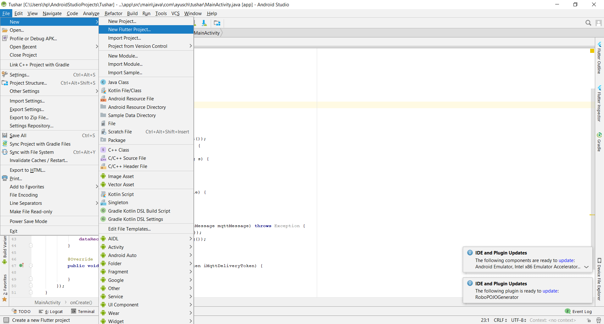 creating a new flutter project in android studio